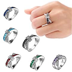 Idea Regalo - Anello zircone anello crocifisso croce color anello donne novità Ring coppia anelli fidanzamento anello wedding set anello moderno anello 6# Purple