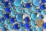 Bazare Masud e.K. 350g Glasnuggets Blaumix in 3 Versch. Größen 12-15mm, 17-21mm und 26-33 mm, ca. 81 Stück Dekosteine Glassteine, Muggelsteine - 4