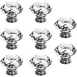 SODIAL(R) 8 x Poignee Boutons de porte meuble tiroir 40mm diamant verre bling transparent decoration