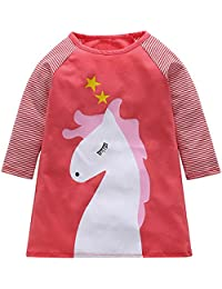 Bestow- Clearance Sale Kids Little Girls Dresses Long Sleeve Cartoon Horse Stripe Princess Casual T