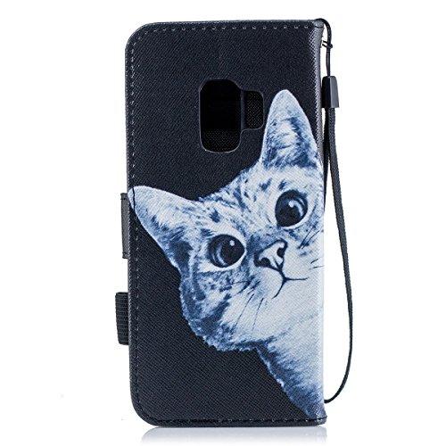 inShang Custodia per Samsung Galaxy S9, Custodie Case Cover in SUPER PU - pelle Custodia a portafoglio con taschini per carte di credito, può essere un forte support per Samsung Galaxy S9 Curious cats