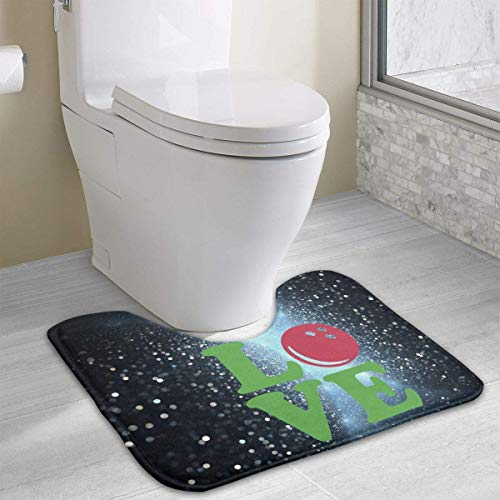 Bowling Love Ball U-Shaped Toilet Floor Rug Non-Slip Toilet Carpets Bathroom Carpet