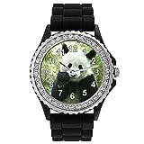 Timest - Panda - Reloj de Silicona Negro para Mujer con piedrecillas Analógico Cuarzo CSG028