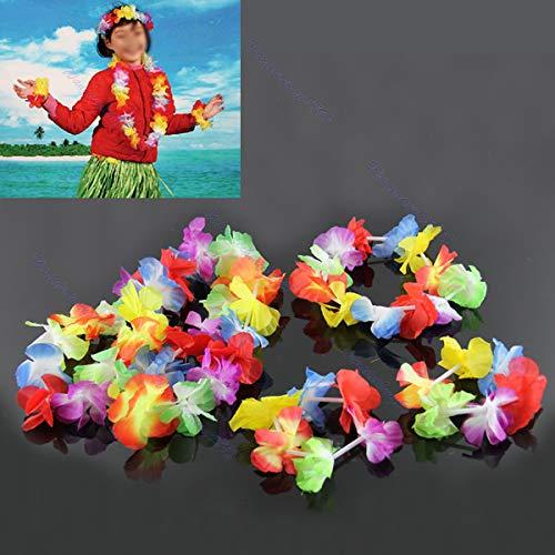 Haptian Hawaiian Flower Necklace Lei Stirnband Fußkettchen Kostüm Garland Beach Hula(Bunt-4Stücks)