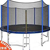 Zupapa 2018 New 10 12 15 FT Trampoline TUV (GS) Approved with Ladder, Pole and Enclosure net, Safety Pad, Jumping Mat, Wind stakes, Cover, Spring Pull Tool