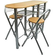 vidaXL Cocina/Bar de desayuno/Set de mesa y sillas Madera