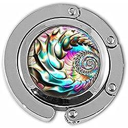 Percha. Colgador redondo con gancho para monedero, o bolsa de pañales, con 30 mm. de cristal.
