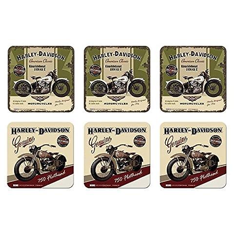 6 tlg Set Untersetzer - 9 x 9 cm - Harley-Davidson Set Nr. 4
