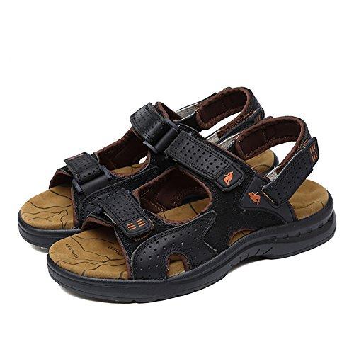 Herren Ledersandalen bequem zu tragen langlebig und rutschfeste Strand Sandalen Sommer Sport waten Schuhe , hl1215 black , 42 (Jugend Khaki Leinwand)