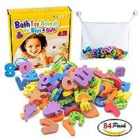 Kids Bath Toys w/ Mesh Organizer Bag - Pack of 84 pcs- Baby Educational Bathroom Alphabet Toys Doopo - Non-toxic EVA Letters Sea Animals Numbers