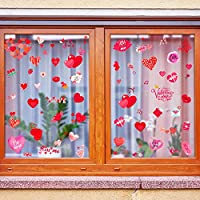 WATINC 200Pcs 8 Sheets Valentine's Day Window Stickers Set Heart Glass Decals Decorations Romantic Self Static Cling Red Rose Kiss Lip Reusable Sticker DIY Valentine Home Decor for Window Mirror