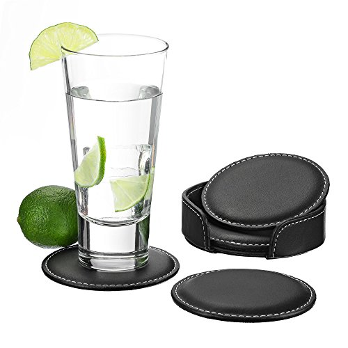 GranFore Leder Glasuntersetzer - 4er Set Glas Untersetzer zum Schutz von empfindlichen Oberflächen - Tassenuntersetzer inklusive Aufbewahrungbox - Tischuntersetzer für Gläser I Getränkeuntersetzer - Glas-untersetzer