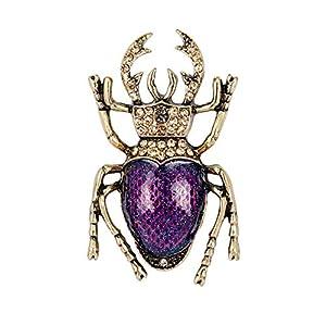 Fablcrew Lila Vintage Käfer Brosche Insekten-Brosche Mode Persönlichkeit Seidenschal Bekleidungszubehör