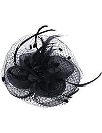 Facigirl Sinamay Clip Sombrero Flor Pluma Boda Fiesta Mini Sombrero de Pelo Nupciales de las Mujeres