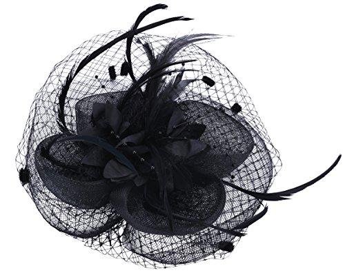 Fascigirl Hochzeit Haar Clip Hut haarschmuck blumen Fascinator mit Schleier Perlen Feder (Hut Mit Feder)