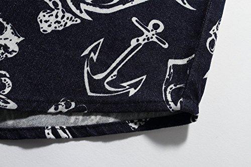 SSLR Herren Druck Regular Fit Button Down Langarm Denim Hemd Blau