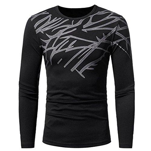Paolian Top imprimé à Manches Longues pour Hommes, Automne et Hiver T-Shirt Chaud près du Corps