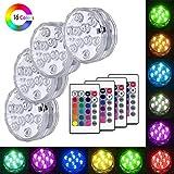 VGROUND LED Luz Sumergible, 4PCS IP68 Impermeable Piscina Luz LED Lámpara con Multicolores, Control Remoto para Estanque, Acuario, Base de Jarrón, Boda, Navidad, Fiesta, Decoración