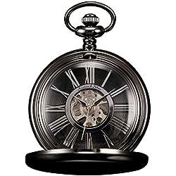 KS Reloj De Bolsillo Hombres con Cadena Steampunk Clásico Mecánico Esqueleto Números Romanos con Caja Negro KSP035