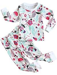 Fancyinn Juegos de Pijama para niñas Niños Estampado Floral de algodón Manga Larga 2 Piezas Pijama