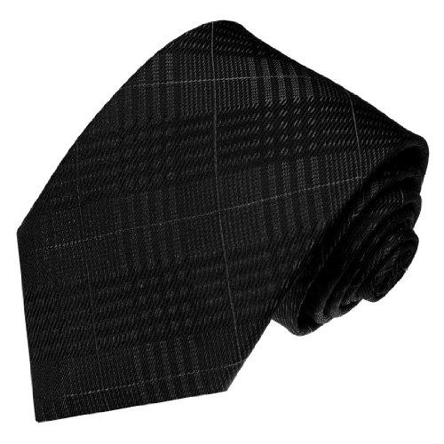 Lorenzo Cana - Marken Designer Krawatte aus 100% Seide Schwarz Grau Anthrazit Kariert Karo - 36092 - Schwarze Seide Krawatte