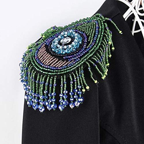 1x handgefertigt Perlen Eye Quaste Patches Pfau Schwanz Stickerei Applikation Ethnische Stil Badge Dancing Kleidung verziert Nähen