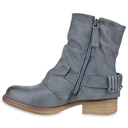 Damen Stiefeletten Biker Boots Used Look Nieten Prints Hellblau