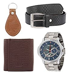 Abloom Leather Belt, Stylish Chain Watch, Wallet & Key Holder combo