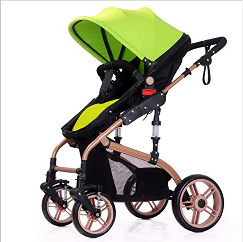 QZX 2 in 1 Kinderwagen Kompaktes Kinderwagen Reisesystem hoch Landschaft-Anwendbar Alter 1-3 Jahre, 6-12 Monate, 0-6 Monate,Green