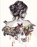 OKOUNOKO Kit di Pittura A Olio Fai da Te,Vista Posteriore della Donna della Farfalla,per Bambini Adulti,Decorazioni per La Casa per Principiantisenza Telaio,60x90cm