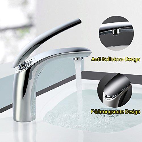 Homelody Wasserhahn Bad Einhebelmischer Mischbatterie Chrom Waschbecken Armatur Waschtischbatterie Waschtischarmatur Badarmatur - 2