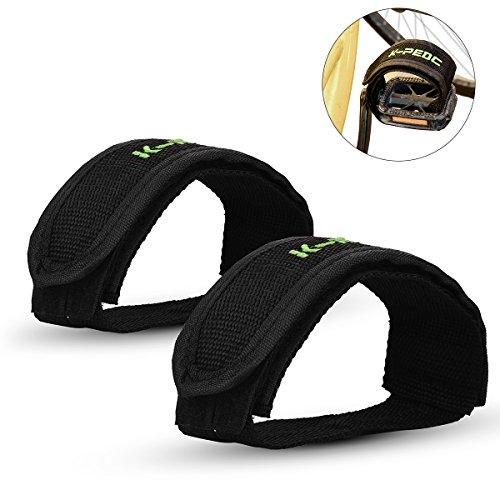 ZOSEN Fahrrad Pedal Straps für Fixed Gear Mountainbike Nylon Pedal Straps Füße Klettband für Anfänger (Schwarz, 1 Paar) -