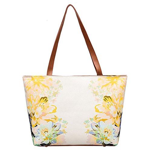 Giulogre Mädchen Frauen Leder Vintage Blume Malerei Tasche Schultertasche Handtasche Damen Retro Blume-bedruckte Schulter Tote Umhängetasche (Gelb)