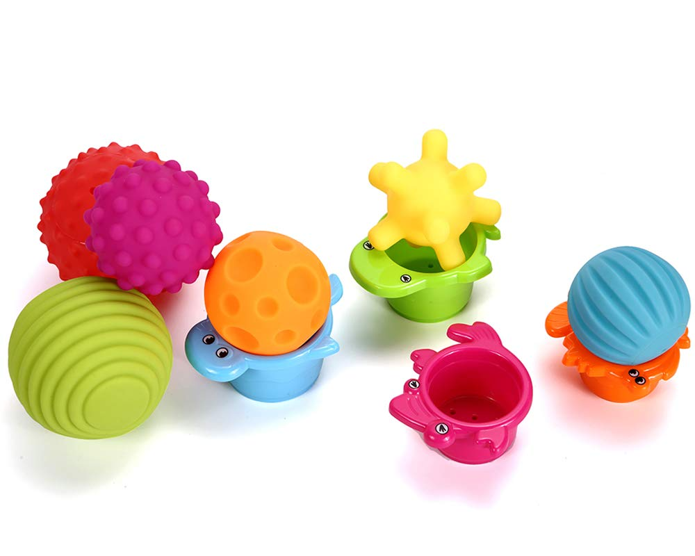 Sensory Balls for Baby- Great Variety In Texture and Color - Kids Rainbow Bath Toys- 6 Colorful Soft and Squeeze Sensory Toy + 4 Stacking Cups Set for Babies & Toddlers - Kids BPA Free Water Toy 3