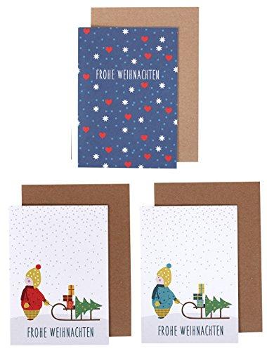 Weihnachtskarten 3er Set 'Kind mit Schlitten' und 'Frohe Weihnachten (Herzen, Sterne)', Klappkarten mit Umschlag