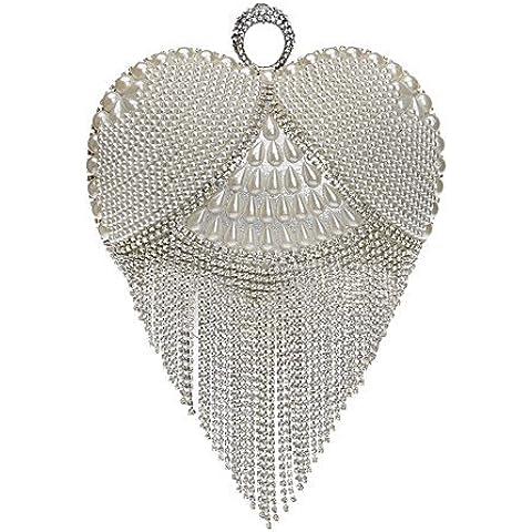 Da Wu Jia Ladies borsetta di alta qualità delle donne di lusso elegante high-grade a forma di cuore Fiocco di madreperla diamanti Borsa serale , argento