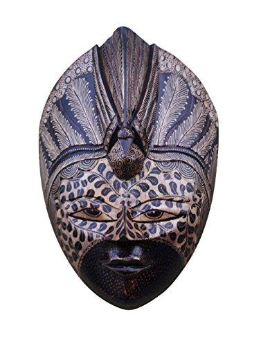 CraftVatika-Maschera decorativa da parete in legno intarsiato a mano, motivo