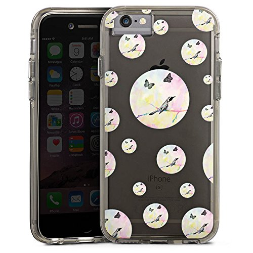 Apple iPhone 7 Bumper Hülle Bumper Case Glitzer Hülle Transparent mit Muster Vogel Punkte Schmetterling Bumper Case transparent grau