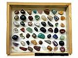 56 steine, edelstein-set, halbedelsteine, mineralien steine, heilsteine set mit Bestimmungsposter, edelsteine 1-3cm gross,Esoterik,mineralien set