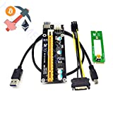 glodenbridge M2 NGFF 16 x pci-express 6pin mit Riser Karte w/60 cm Adapter, USB 3.0 Kabel und 6pin zu SATA Power cable-gpu Riser adapter-ethereum, ETH 1*Pack Schwarz