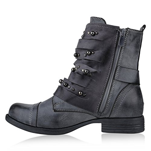 Stiefelparadies Damen Biker Boots Leder-Optik Stiefeletten Warm Gefütterte Booties Blockabsatz Winter Schuhe Winterboots Zipper Snake Print Flandell Blau Grau Nieten