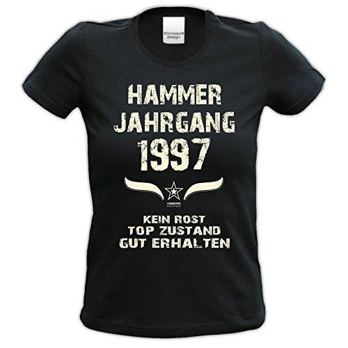 Damen-Kurzarm-T-Shirt Girlieshirt Geschenk-Idee zum 20. Hammer Jahrgang 1997 Geburtstag Geburtstagsgeschenk :-: Farbe: schwarz Schwarz