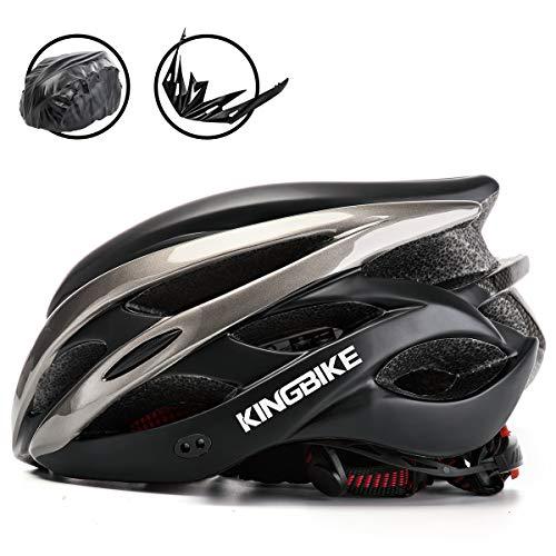 KING BIKE Fahrradhelm Helm Bike Fahrrad Radhelm FüR Herren Damen Helmet Auf Die Helme Sportartikel Fahrradhelme GmbH RennräDer Mountain Schale Mountainbike MTB (Schwarz und Titan, XL(59-63CM))