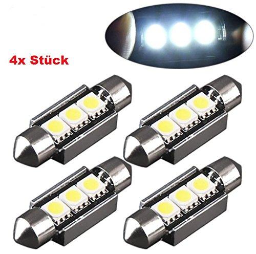 !! XENON – WEISSE !! MODERNE - LOOK !! KALTWEISS !! SMD mit intensive Leuchtkraft Beleuchtung Soffitte Birne Autolampen Lampen LED 12Volt PKW KFZ 6000K CANBUS - INION ® (4x C5W 36mm mit 3 SMD)