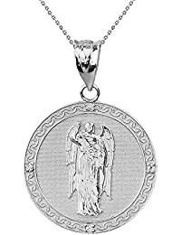 "925 Sterling Silber Archangel Saint Gabriel Zirkonia Medallion Damen Anhänger 1.15"" ( 29 Mm)"