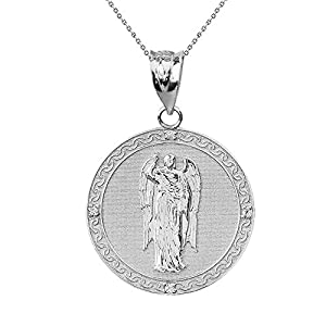 925 Sterling Silber Archangel Saint Gabriel Zirkonia Medallion Damen Anhänger 1.15″ ( 29 Mm)