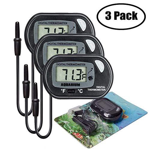 Bkinsety LCD Digitales Wasser Thermometer für Terrarium,Aquarium und Vivarium(3 Stück)