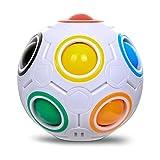 Fidget Spielzeug Sphärische Würfel Ball, PONCTUEL ESCARGOT Fidget Cube Magic 3D Puzzle IQ Spielzeug, Faszination Regenbogen Ball,Fußball Stil Würfel -
