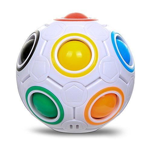 Fidget Spielzeug Sphärische Würfel Ball, PONCTUEL ESCARGOT Fidget Cube Magic 3D Puzzle IQ Spielzeug, Faszination Regenbogen Ball,Fußball Stil Würfel