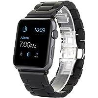 Apple Watch Band, Yafeite madera de ébano Correa de repuesto banda de muñeca para Apple Watch & Sport & Edition iWatch con corchete adaptador (38MM, BLACK)